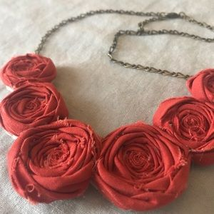 Jewelry - Handmade Deep Autumn Orange Flower Necklace